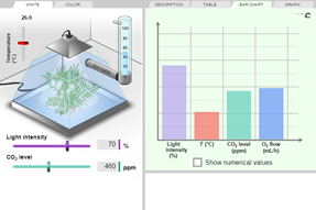Screenshot of Photosynthesis Lab Gizmo