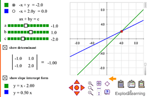 Screenshot of Systems of Linear Equations (Classic) Gizmo