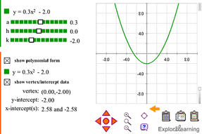 Screenshot of Quadratics in Vertex Form (Classic) Gizmo