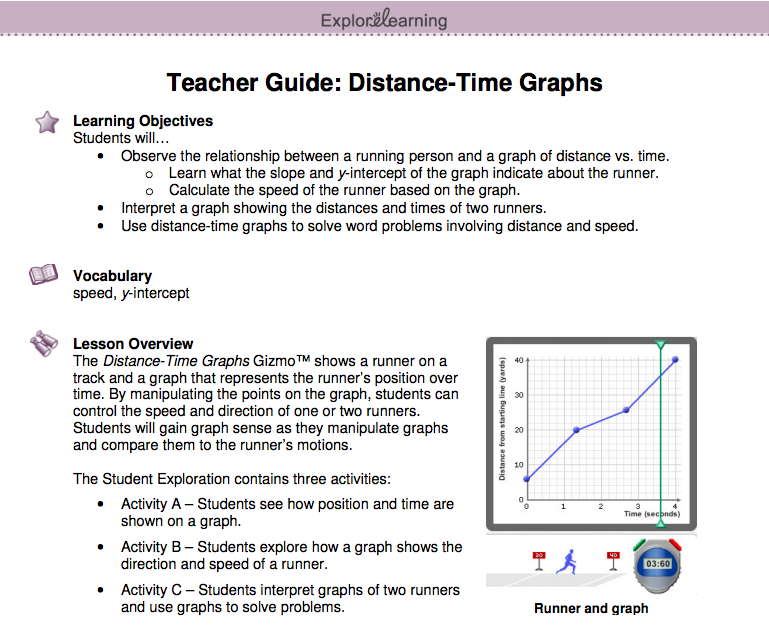 Screenshot of the Time-Distance Graph Gizmo's Teacher Guide