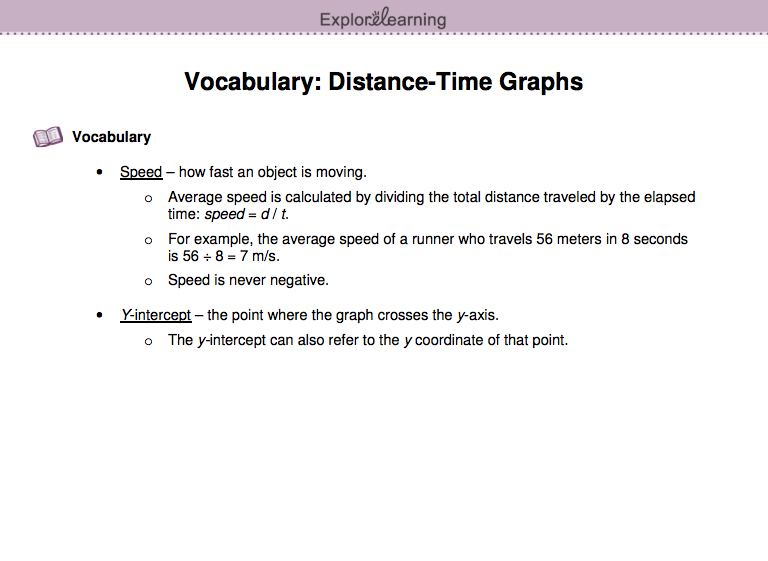 Screenshot of the Time-Distance Graph Gizmo's Vocabulary Sheet