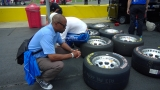 Inspecting tread wear Sonoma Raceway