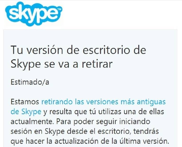 Skype retira las versiones de escritorio más antiguas