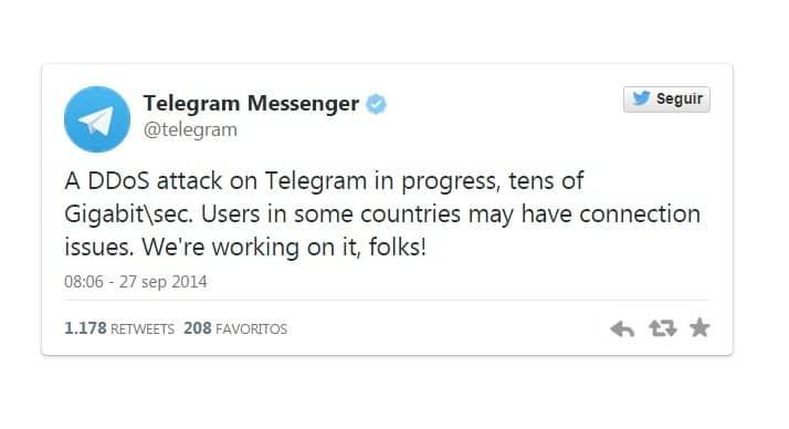 Telegram también es atacada, quedando fuera de servicio