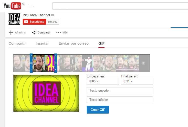 YouTube ahora permite crear GIFs con sus videos