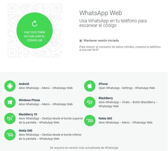 WhatsApp web ya está disponible para iPhone