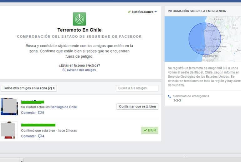 Luego del terremoto en Chile Facebook activa aplicación para saber el estado de los ciudadanos