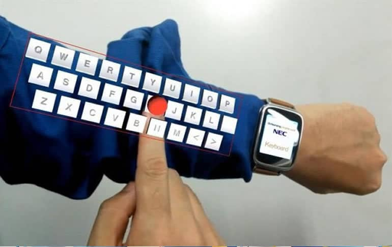 La firma japonesa NEC creó un teclado que se proyecta sobre el brazo