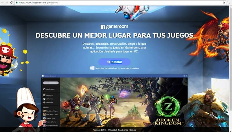"""Gameroom"" de Facebook"