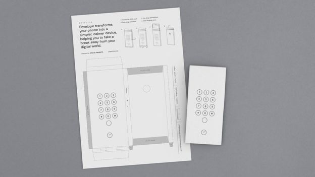 "A paper ""envelope"" designed by Google to stop being addicted to cell phones"