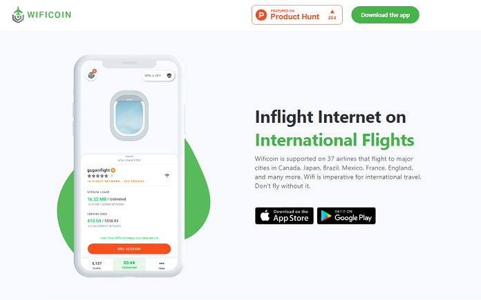 WiFi Coin, an app with WiFi service for your flights