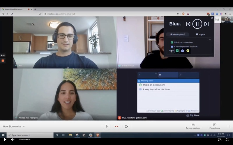 Bluu: Novo participante colaborativo nas reuniões Google Meet e Zoom