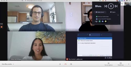 Bluu: Nuevo participante colaborativo en reuniones de Google Meet y Zoom