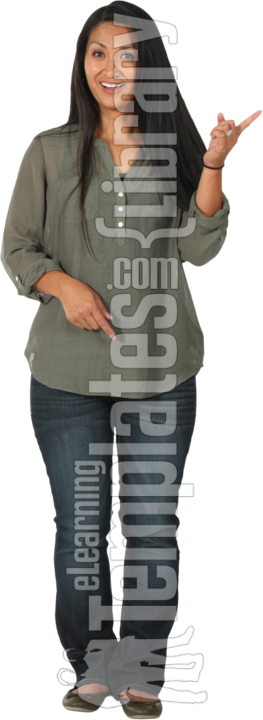 image series 057a, claudia, people, person, human, individual, one person, cutout, isolated, clipped out, white background, studio shot, casual, relaxed, black hair, straight hair, long hair, mature, middle-aged, midlife, adult, woman, girl, female, women, hispanic, latin american, latino, t-shirt, tee shirt, shirt, jeans, denims, blue jeans, pants, flats, shoes, showing, presenting, pointing, looking at camera, front view, standing, happy, cheerful, smile, grin, friendliness, young