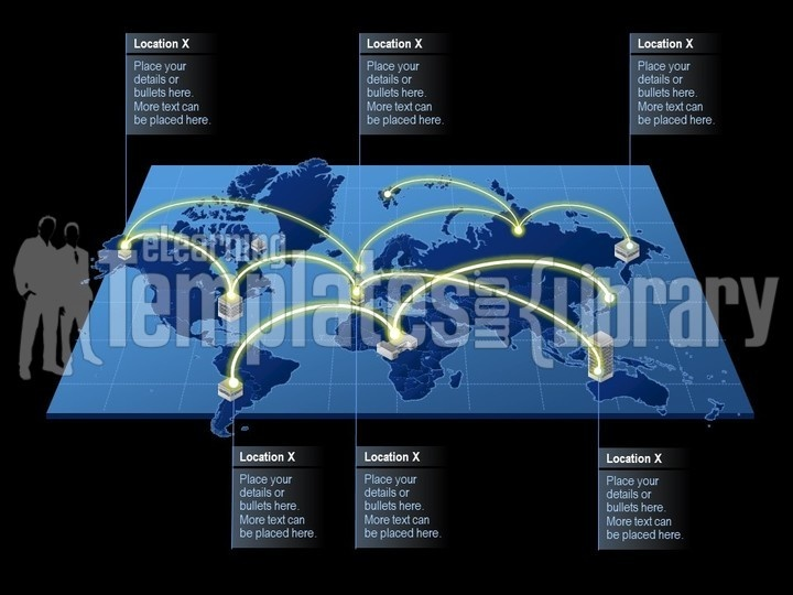 Powerpoint World Map And Continents Template Maps And Global Templates