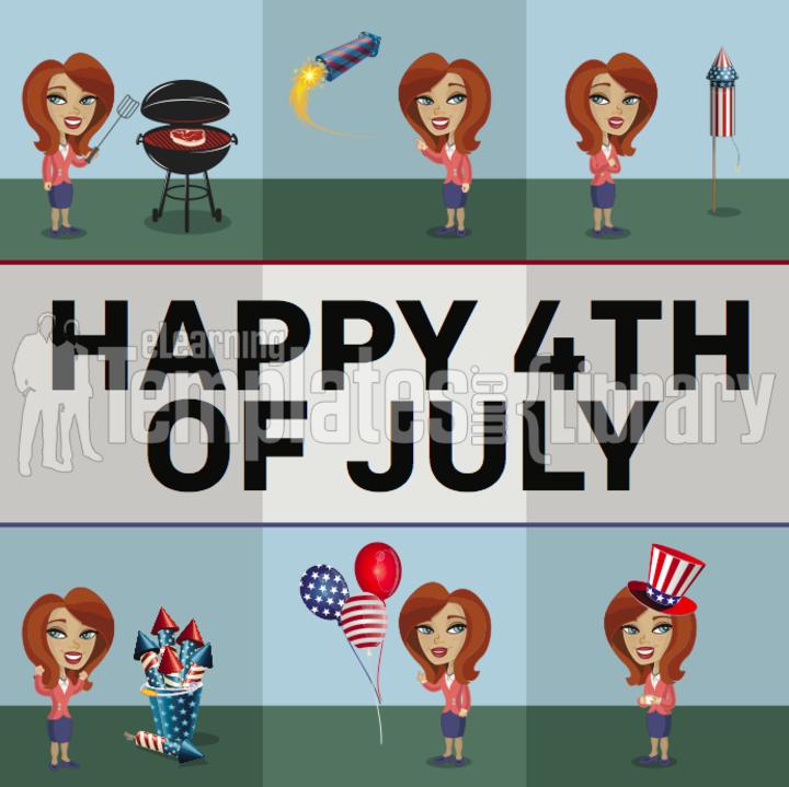 woman, illustrated, patriotic, firework, grill, balloon, cartoon