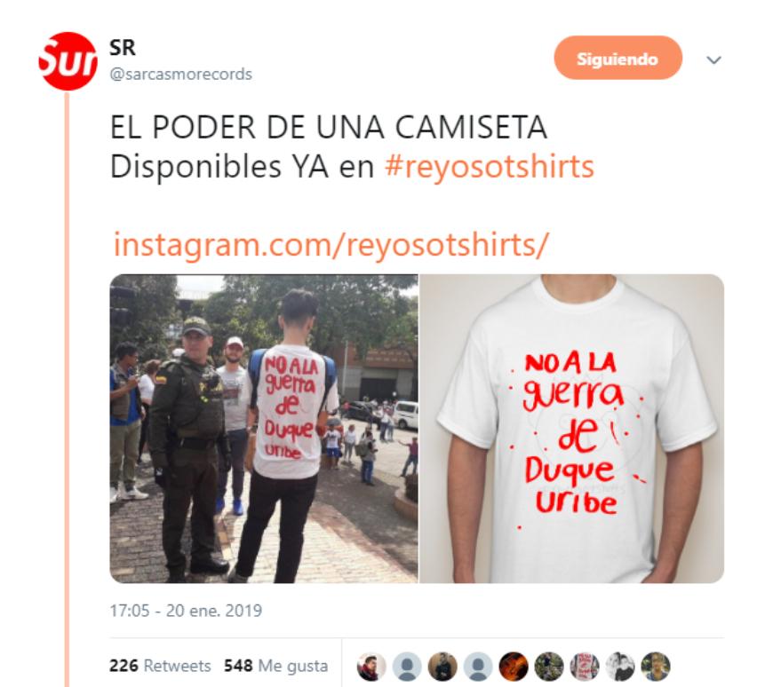 0e6fd6114853e Este es el tweet promocionando la camiseta.