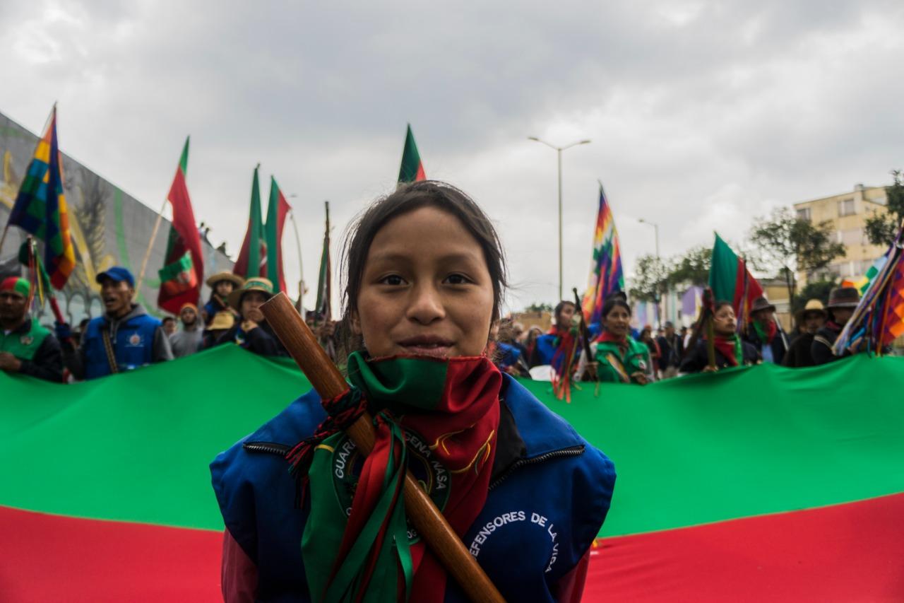 En video | Así fue la marcha de la Guardia Indígena en Bogotá