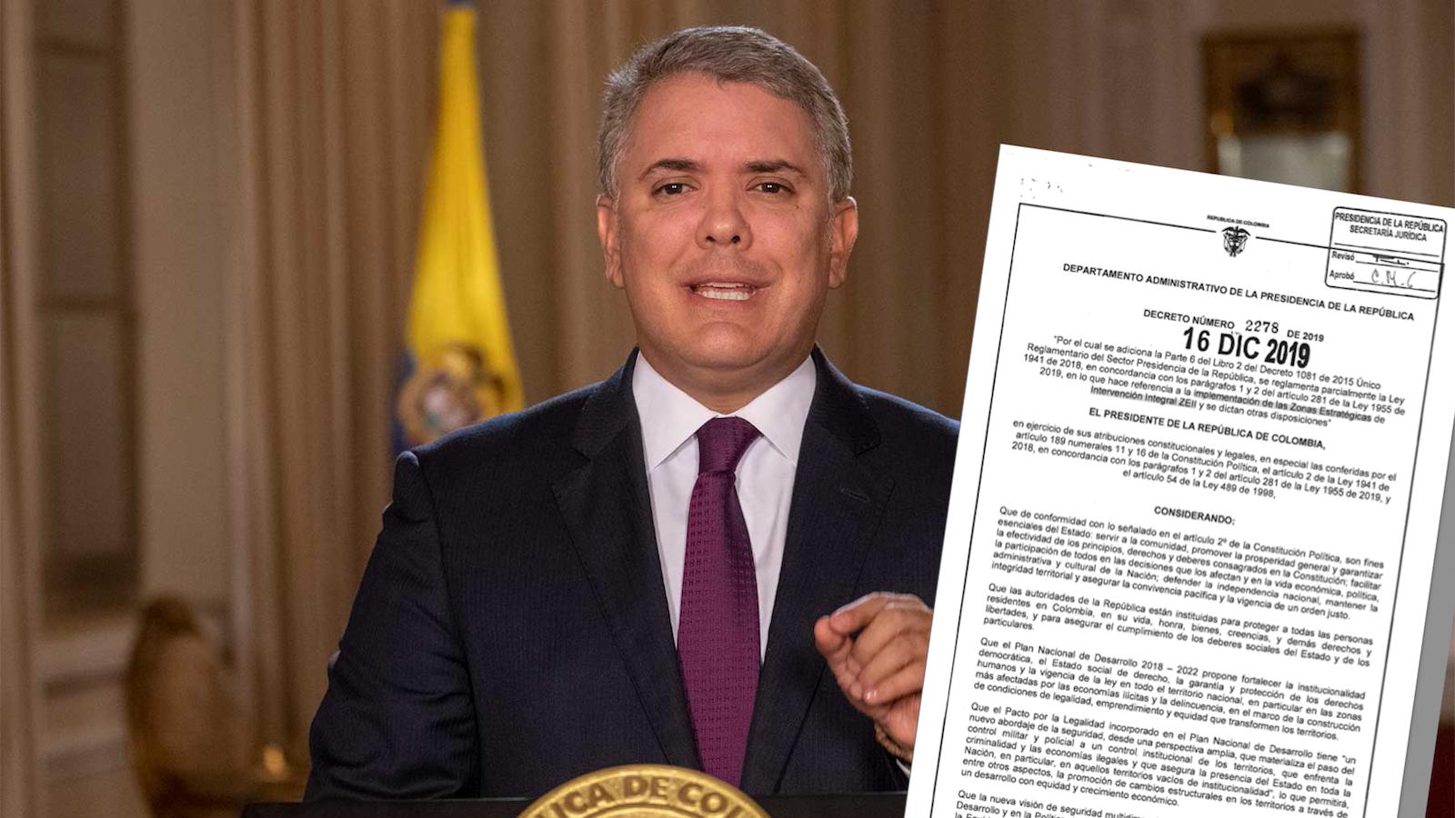 Presidente Duque firmó decreto para agilizar desarrollo y estabilización en zonas de violencia