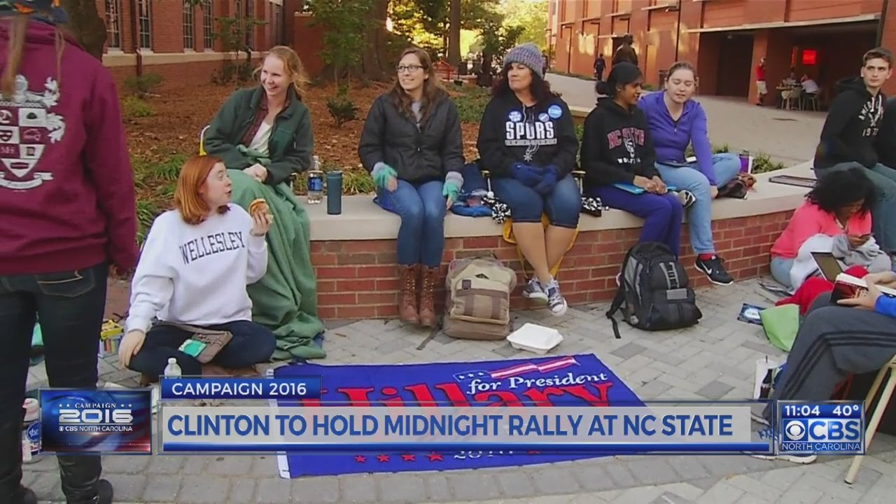 Hillary Clinton holding midnight rally at NC State
