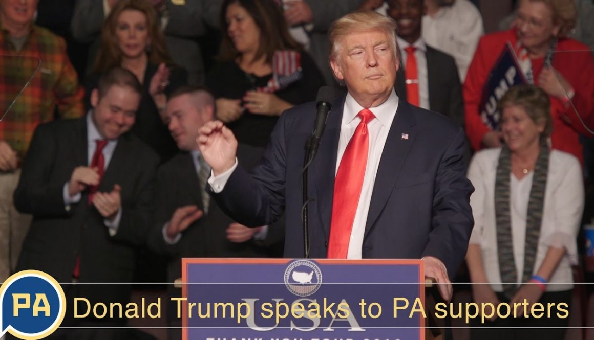 President-elect Donald Trump speaks to Pennsylvania supporters
