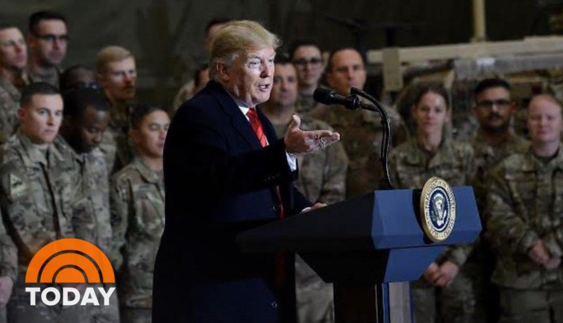 President-Trump-Makes-Surprise-Visit-To-Troops-In-Afghanistan
