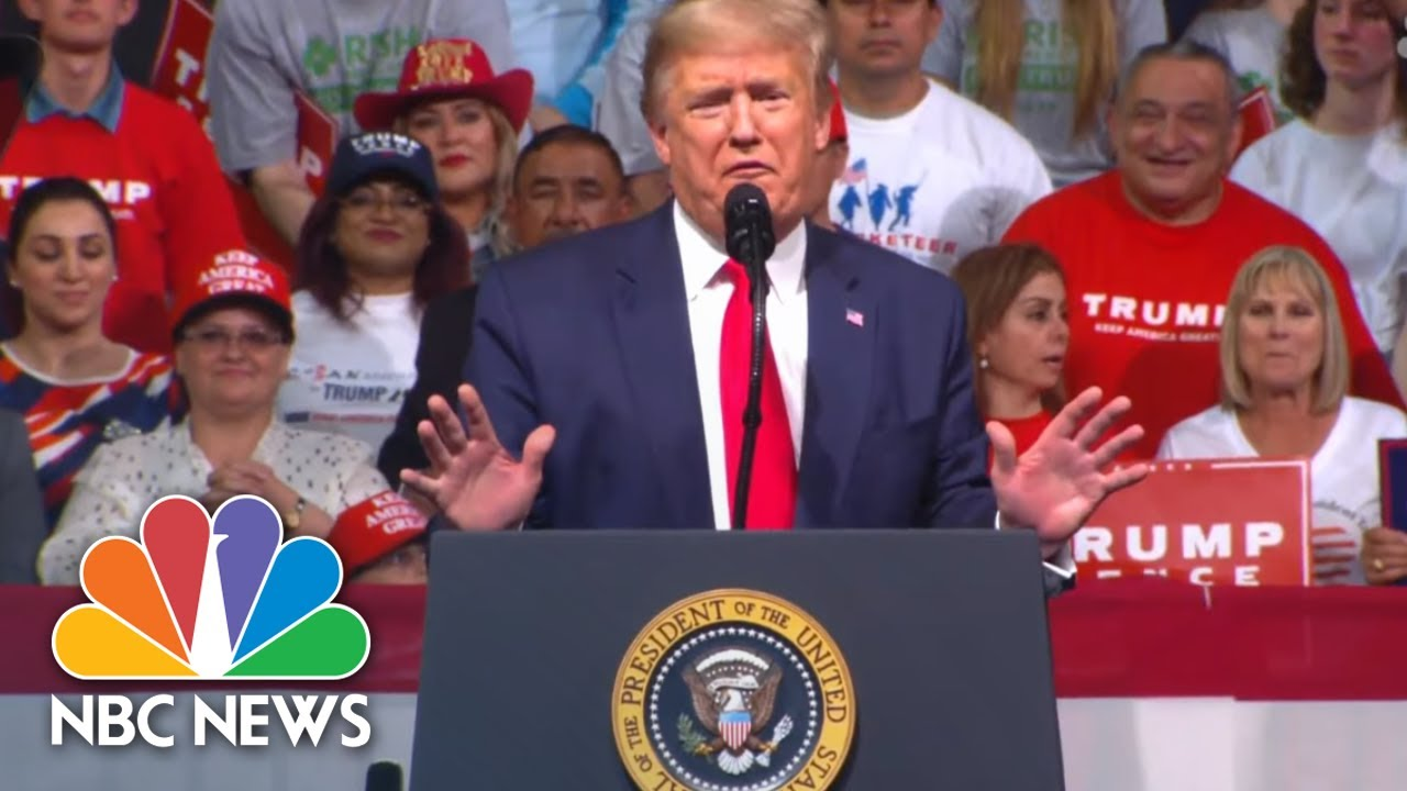 President-Donald-Trump-Goes-After-Mini-Mike-Bloomberg-At-Campaign-Rally