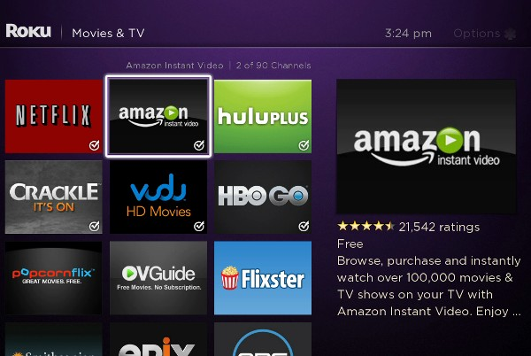 Roku screen streaming media player mains