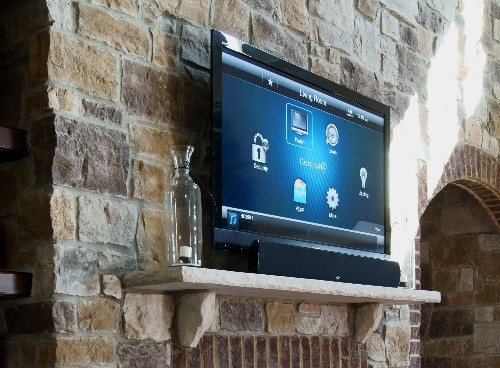 Soundbar mounted on a fireplace mantel by Smart Homes of Chattanooga.