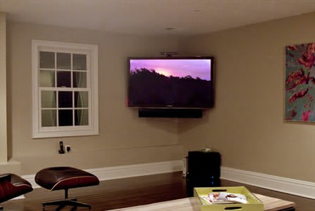 Global Custom Installation included a soundbar with this corner-mounted TV.