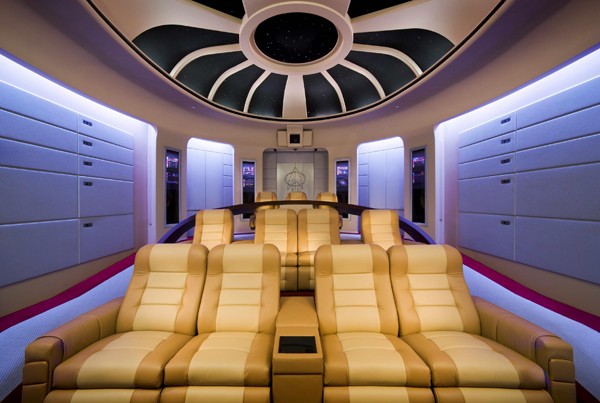 The most out of this world star trek themed home theater for Wallpaper home theater