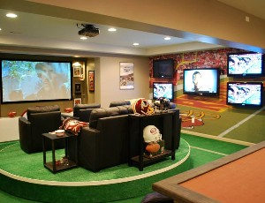 Nfl S Super Fan Man Cave Has 7 Screens Electronic House
