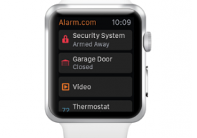 Wearable devices like the Apple Watch can be used to control a home automation system, thanks to technologies from companies including Alarm.com.