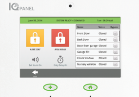 The IQ Panel from Qolsys lets you monitor and control electronic door locks and other equipment.
