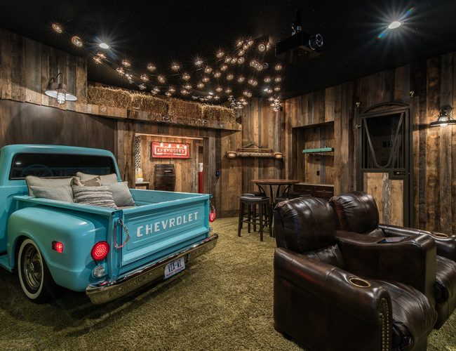 an indoor drive in home theater design revs up the fun for