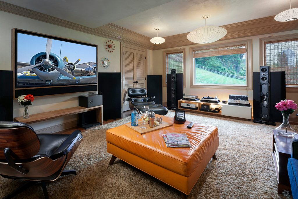 a control4 system helps this multipurpose entertainment space transition from a home theater to. Black Bedroom Furniture Sets. Home Design Ideas