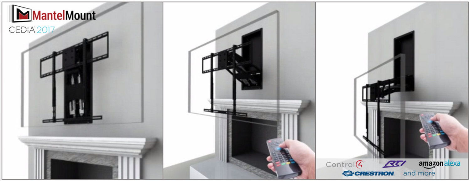 Over the fireplace tv mount moves when you tell amazon for Motorized drop down tv mount
