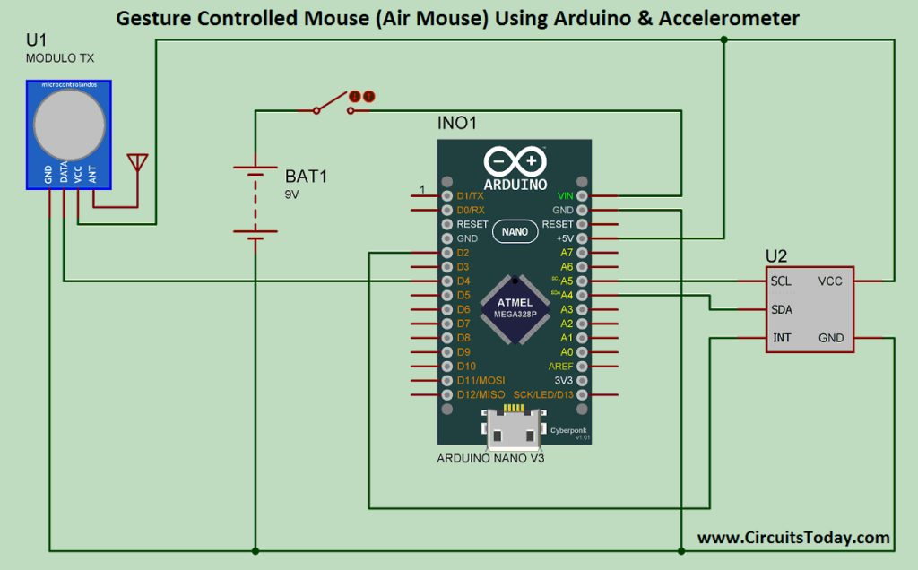 Air Mouse- Gesture Controlled Mouse Circuit