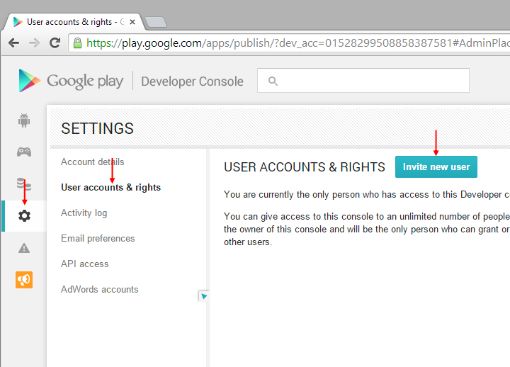 How to invite the app builder account on google play - Google play store developer console login ...