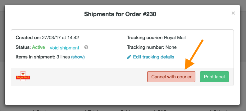 How to cancel a courier shipment (APC, Yodel and Parcelforce