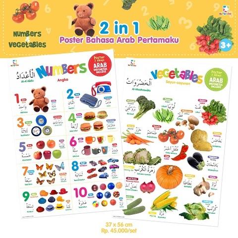 2 in 1 Poster Bahasa Arab Pertamaku: Numbers & Vegetables