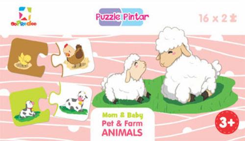Puzzle Pintar: Mom & Baby Pet & Farm Animals