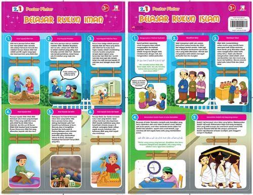 2 in 1 Poster Pintar : Belajar Rukun Iman dan Rukun Islam
