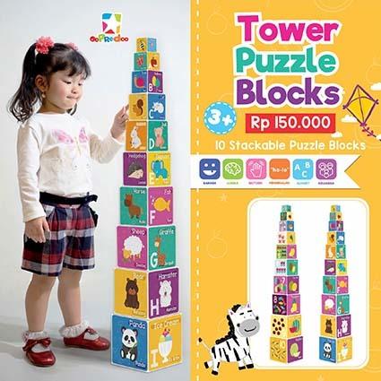 Opredo Tower Puzzle Blocks: Alphabet & Animals