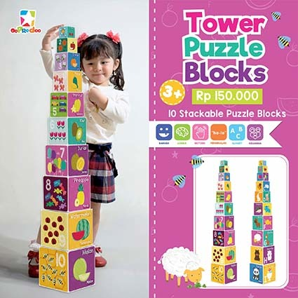 Opredo Tower Puzzle Blocks: Numbers, Colors, Vehicles & Fruits