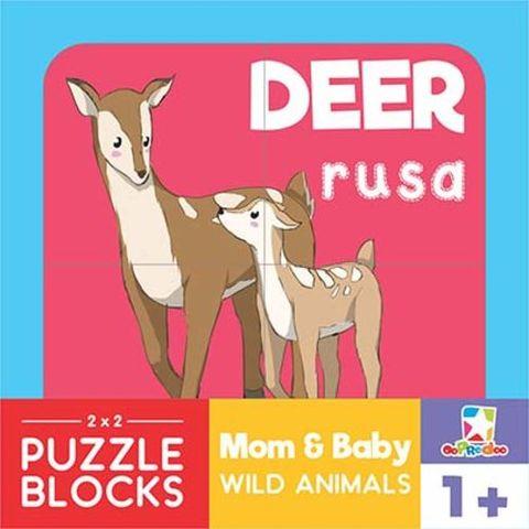 Opredo Puzzle Blocks: Mom & Baby Wild Animals