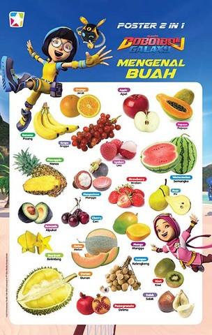 Poster 2 in 1 Boboiboy: Mengenal Buah dan Sayuran