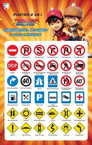 Poster 2 in 1 Boboiboy: Mengenal Rambu Lalu Lintas dan Transportasi
