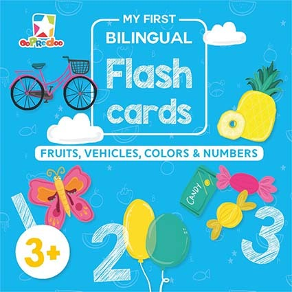 Opredo My First Bilingual Flash Cards: Fruits, Vehicles, Colors & Numbers