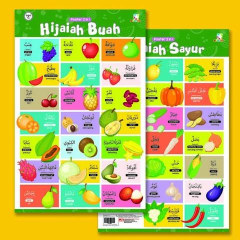 Opredo Poster 2 in 1 : Hijaiah Buah dan Sayur
